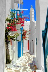 Whitewashed street in the old town of Mykonos, Greece