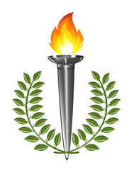 Torch with laurel wreath