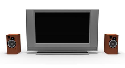 Televisore con casse audio su bianco