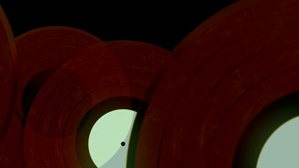 Red translucent vinyl records spin and slowly fall down