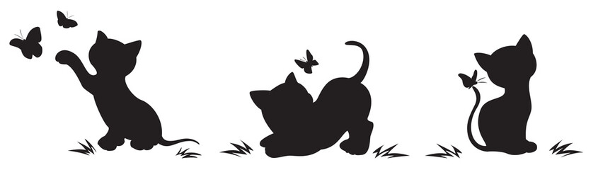 Silhouettes of cats with butterflies