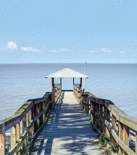 Scenic Old Wooden Fishing and Swimming Pier