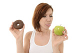 Attractive Woman with Chocolate Donut sticks Tongue out to Apple