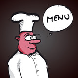 menu with cartoon chef