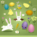 Vector Art Elements Easter Bunny Chicks Eggs Basket
