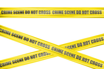 Yellow crime scene labeled cordon tape isolated on white backgro