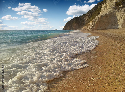 beach with rocks in water. Island Lefkada