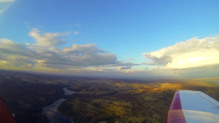 Aerial view of Peak District Dam Busters lakes and hills