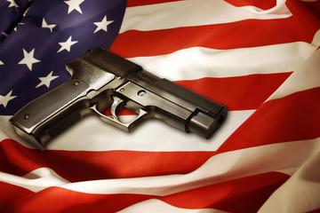 Gun on flag
