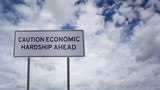 Sign Economic Hardship Clouds Timelapse