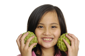 Close up child with custard apple