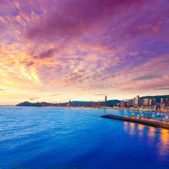 Benidorm Alicante sunset playa de Poniente beach in Spain