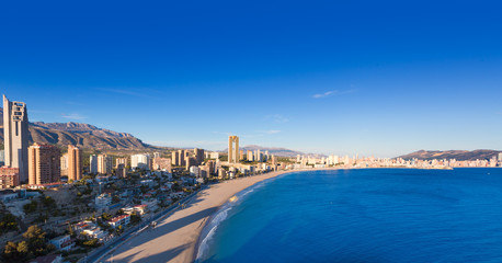 Benidorm alicante skyline aerial view of Poniente beach
