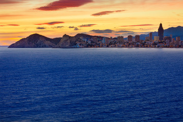 Benidorm Alicante sunset playa de Poniente beach in Spain