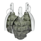 Group of three grenades on white background