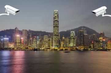 Security camera detects the movement of traffic ,Hong Kong is sa