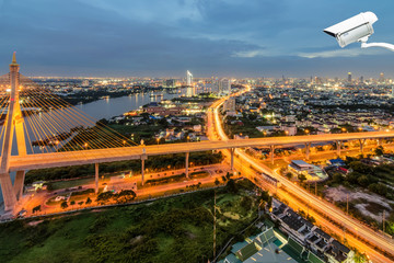 Security camera detects the movement of traffic ,Bangkok is safe