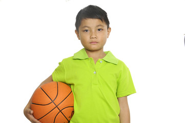 Close up little boy holding a Basketball