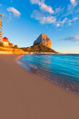 Calpe Alicante sunset at beach Cantal Roig in Spain