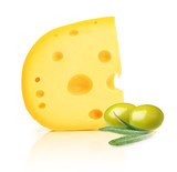 Piece of cheese with holes and green olives isolated on white