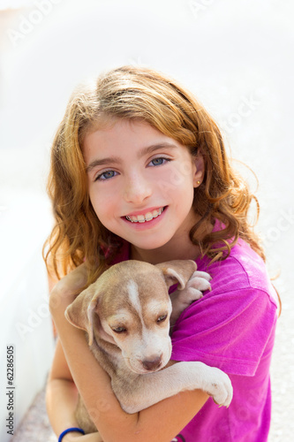 Kid girl smiling puppy dog and teeth braces smiling
