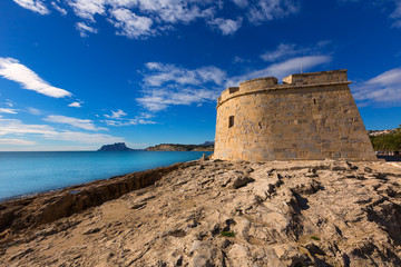 Moraira Castle in teulada beach at Mediterranean Alicante
