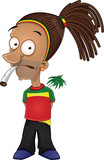 Cartoon rastafarian smoking joint