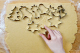 Preparing gingerbread cookies for christmas. Steps of making
