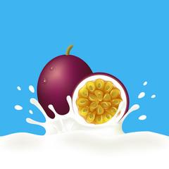 Passion fruit falling into milky splash