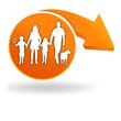 famille sur bouton orange