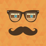 Vintage hipster background. Sunglasses reflection camera