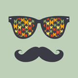 Vintage hipster background. Sunglasses  and mustache