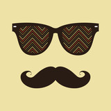 Vintage hipster background. Sunglasses and mustache.