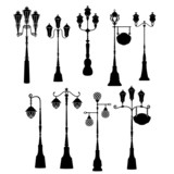 Set of retro street lanterns silhouettes