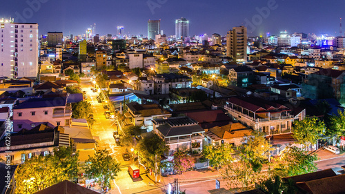 Phnom Penh at night cityscape