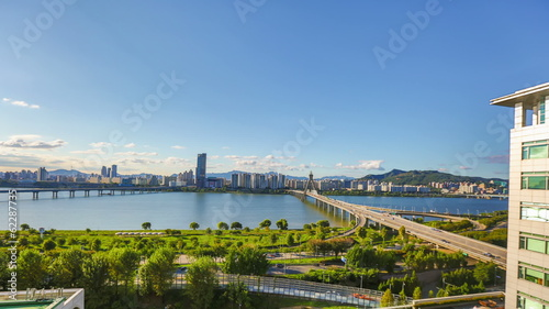 Seoul City Daytime Waterfront Park