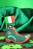 Saint Patrick day boot with gold coins and clover leaves