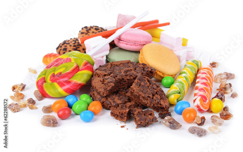 Different sweets isolated on white