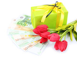 Gift box with money and flowers isolated on white