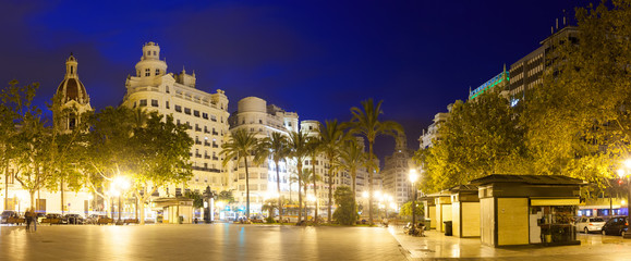 Placa del Ajuntament in evening. Valencia