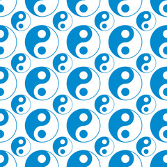 seamless of blue yin yang vector