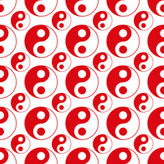 seamless of red  yin yang vector