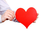 Person holds Red Heart shape