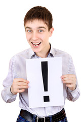 Teenager holds Exclamation Mark
