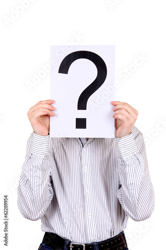 Person holds Question Mark
