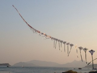 Dozens of kites on one line.