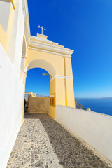 Greece Santorini island panoramic view of colorful whitewased ha