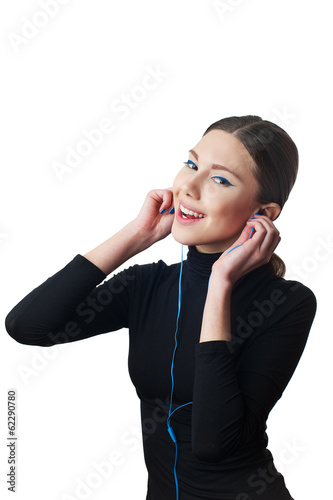 Teenage girl with headphones listening to music