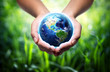 Leinwanddruck Bild - earth in hands - grass background - environment concept