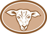 Sheep Head Oval Cartoon
